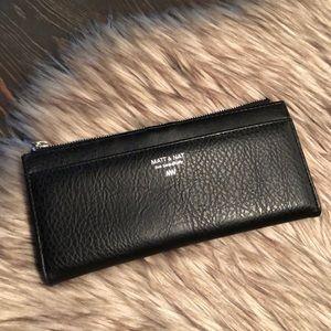 Matt & Nat Long Bifold Wallet Zipper Compartment